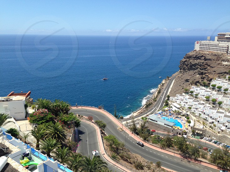 Hill and sea view of Puerto Rico Gran Canaria photo