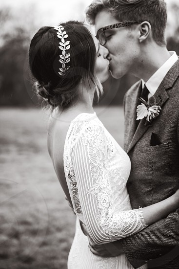 Couple wedding kiss intimate love black and white  photo