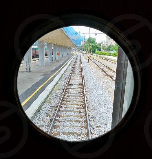 look out through the circle train window photo