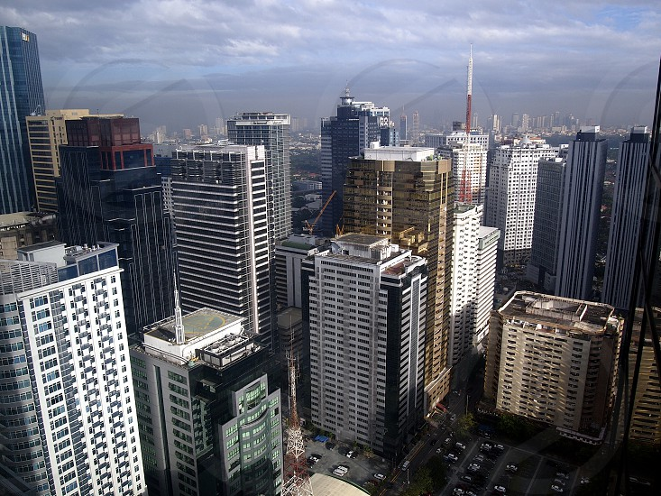 Buildings and skyscrapers of commercial and residential establishments in the central business district of Pasig City Philippines. photo