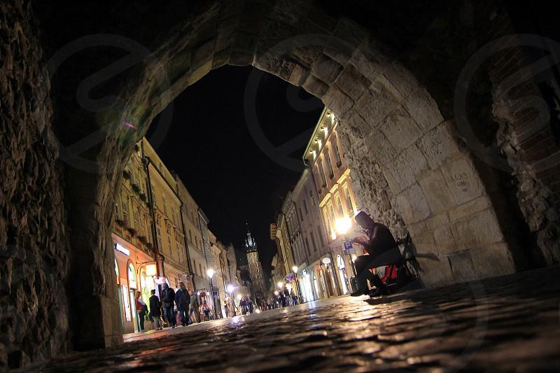 A street in Krakow by night photo