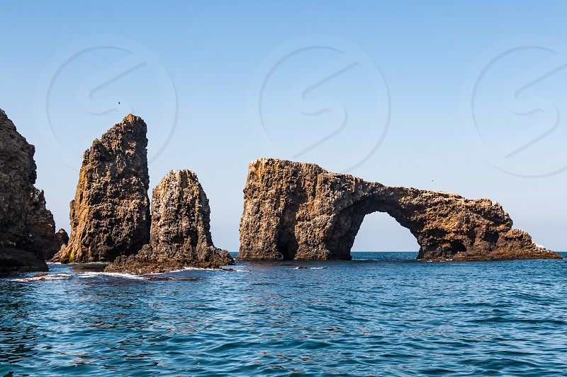 Volcanic rock formations on at Anacapa Island part of the Channel Islands National Park. photo