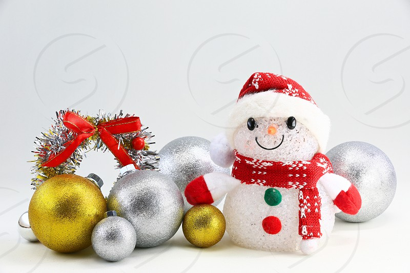 'Christmas Icons' (9): Christmas Wreath Snowman Gold Ornaments Red Ribbon Silver White Background Lovely Simple photo