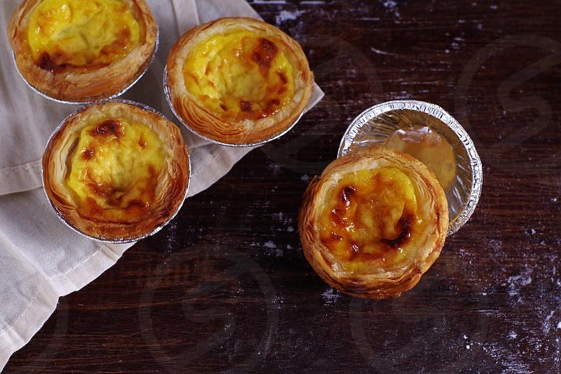 Homemade egg tarts. photo
