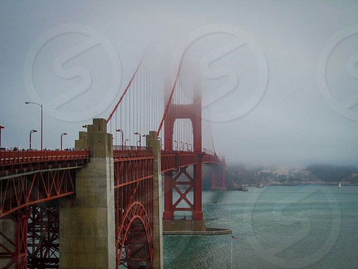 A fog descends over the Golden Gate Bridge in San Francisco. photo