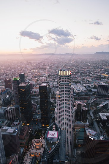 Aerial view of the iconic US Bank building in Los Angeles  photo