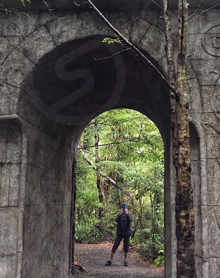 Forest trees archway door medieval inscriptions person Lord of The Rings film location Wellington New Zealand nature photo