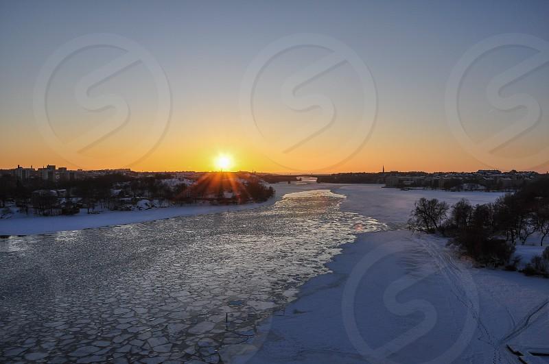snowy river sunset photo photo