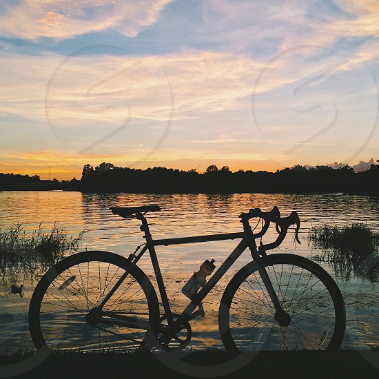 bicycle silhouette at water's edge at sunrise photo