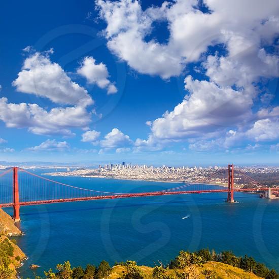 Golden Gate Bridge San Francisco GGB from Marin headlands in California USA photo