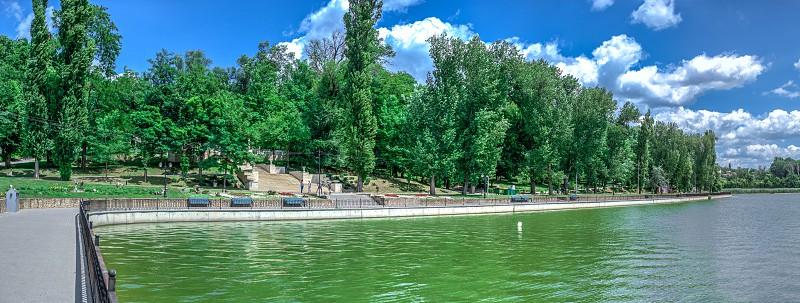 Chisinau Moldova – 06.28.2019. Embankment of Valea Morilor Lake in Chisinau Moldova on a sunny summer day photo