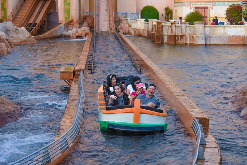 Orlando Florida. March 09 2019. People having fun Journey to Atlantis at Seaworld in International Drive area  (4) photo