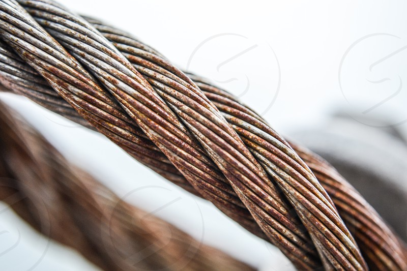 macro rusted metal ropes photo