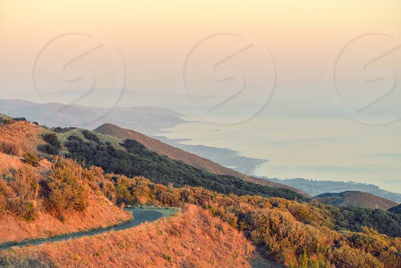 travel mountains road sunrise photo