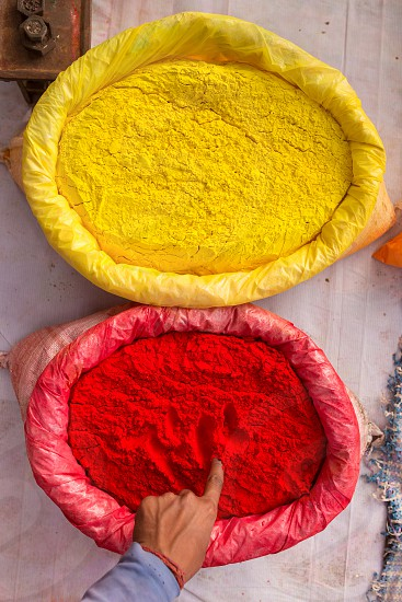 Colorful powder on the market during Holi festival in India photo