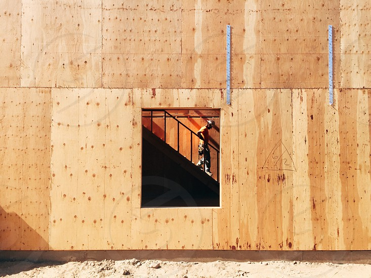 Construction wood building worker window photo