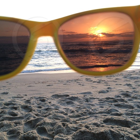 yellow framed sunglasses photo