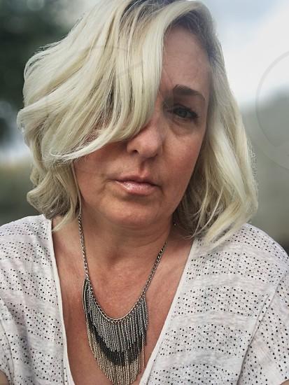 Self portrait portrait self human closeup face woman  photo