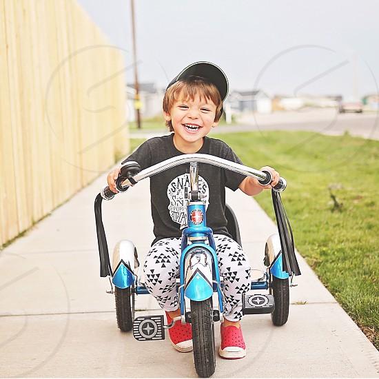 Ride bikes outside play child  photo