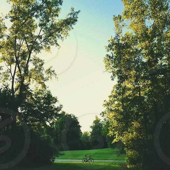 black bicycle at park photo