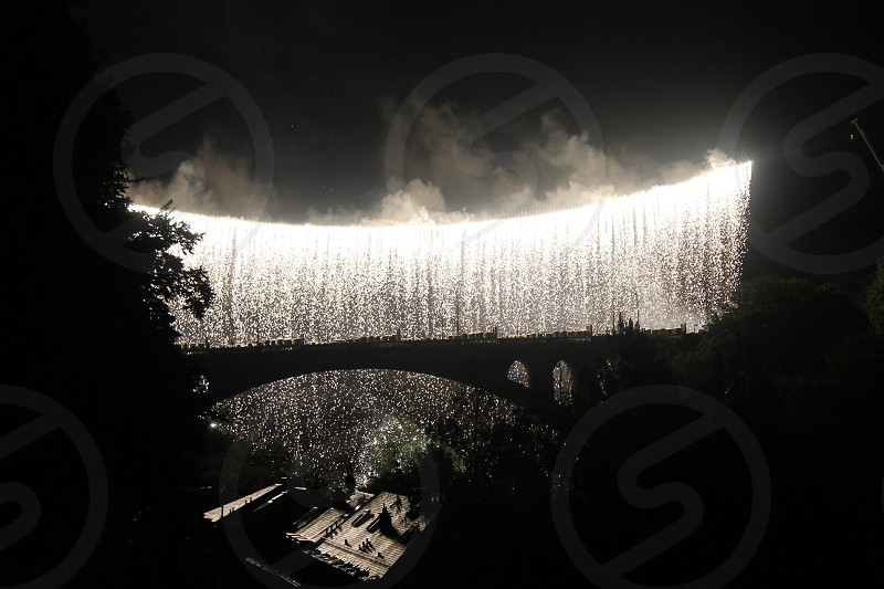 Fireworks waterfall from Luxembourg National Day. photo