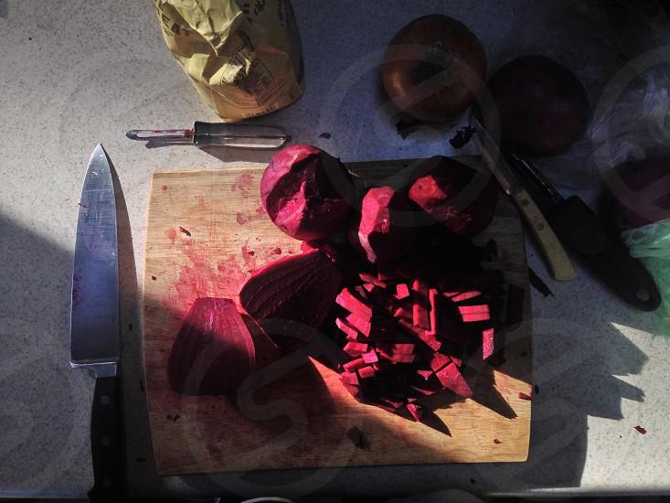 Making beat soup ingredients kitchen  photo
