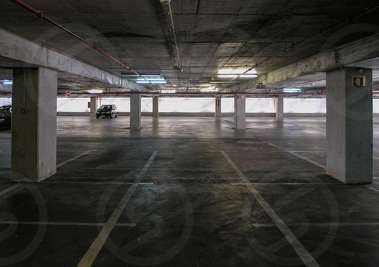 gray concrete parking space photo