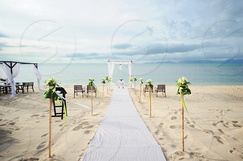 wedding aisle on beach photo