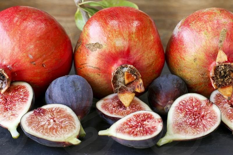 fig figs pomegranate pomegranates fruit fall fresh produce red purple pink photo