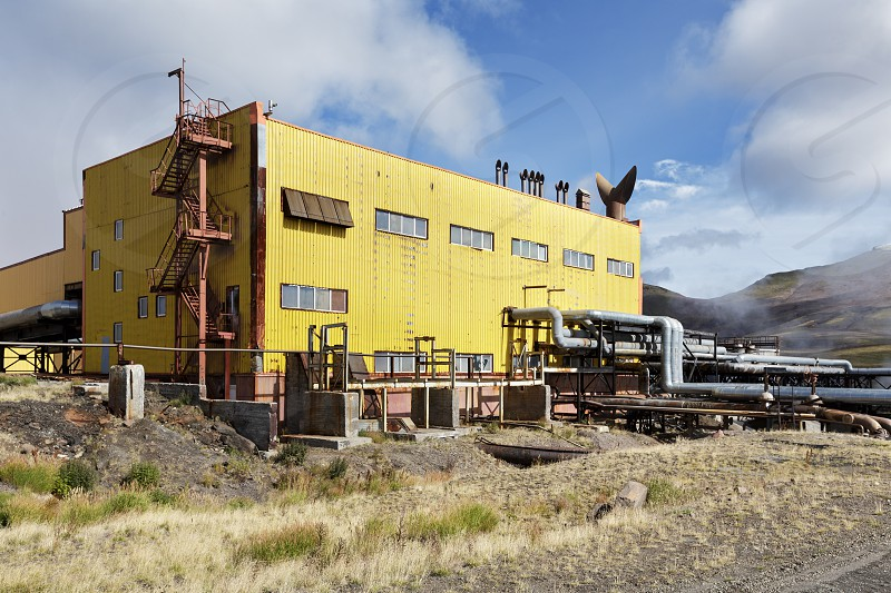 KAMCHATKA RUSSIA - SEP 17 2016: Separator and pumping station of Mutnovskaya Geothermal Power Station (Mutnovskaya GeoPP-1) Geotherm JSC (RusHydro) using geothermal energy to produce electricity. photo