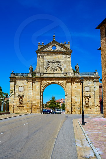 Sahagun middle center of Saint James Way San Benito arch in Leon Spain photo