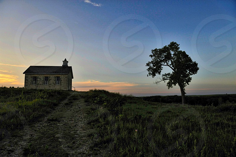 Old school house in the Flint Hills of Kansas photo