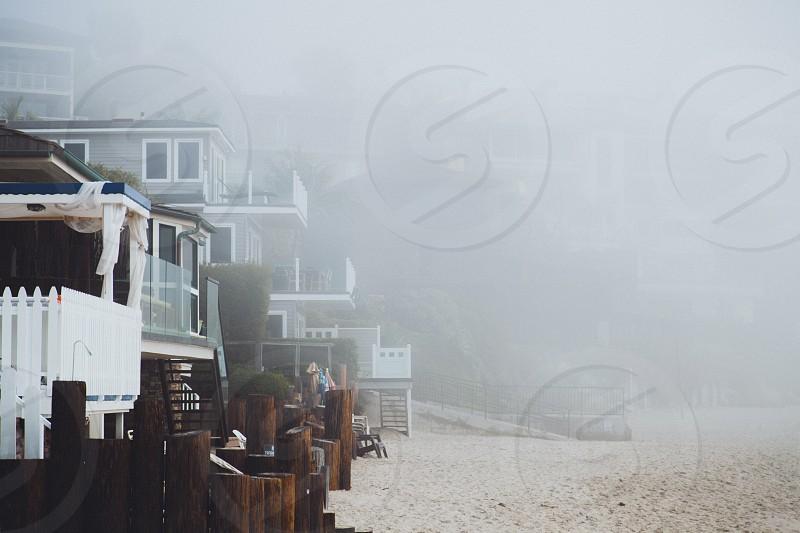 sea fog on the beach photo