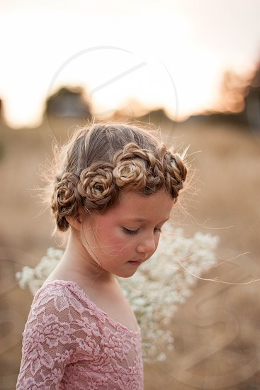 Braid hair flower girl wedding bridal style beauty fashion girl child flowers flower photo