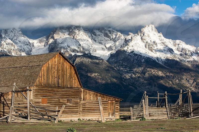View of Mormon Row near Jackson Wyoming photo