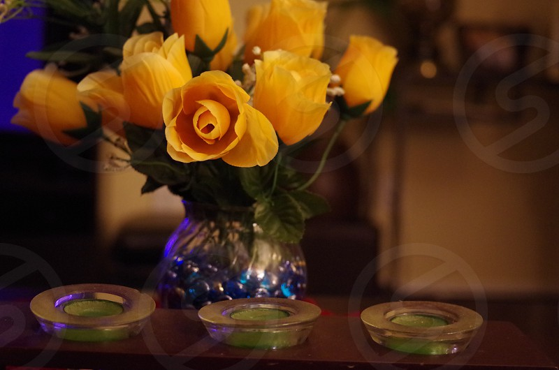 99 cents yellow rose plastic flowers photo