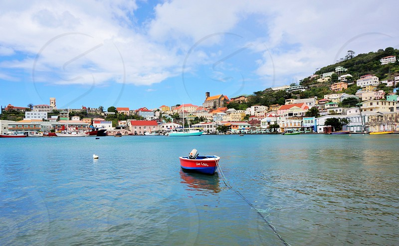 Beautiful St. Georges Grenada. #caribbean #island #getaway #town #city #harbour #port #boat photo