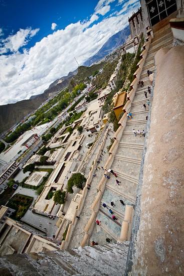 Steps Potala Palace Tibet China photo
