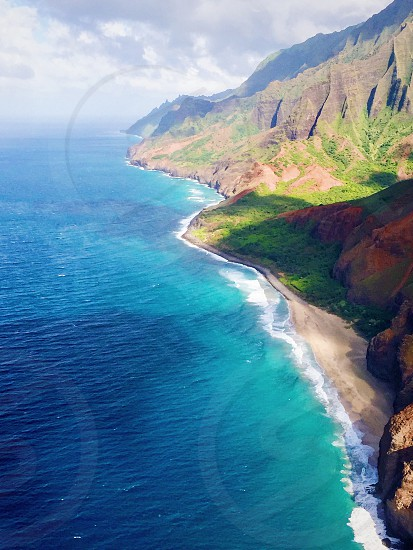 The Napali Coast from helicopter photo
