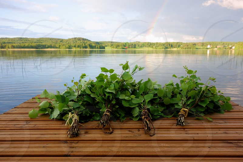 Traditional Finnish bath whisks made out of fresh birch leaves and twigs on a wet jetty by the lake on a Midsummer Eve. photo