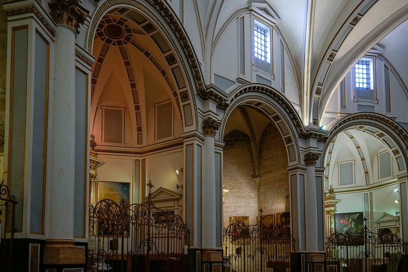VALENCIA SPAIN - FEBRUARY 27 :  Interior view of the Cathedral in Valencia Spain on February 27 2019 photo