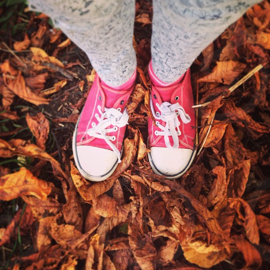 #huffpostsnap sneakers standing in autumnal leaves legs feet child kid children kids outdoors autumn crunch crunchy converse shoes UK fall seasons photo