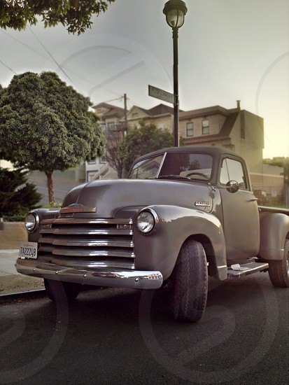 gray vintage pick up truck  photo