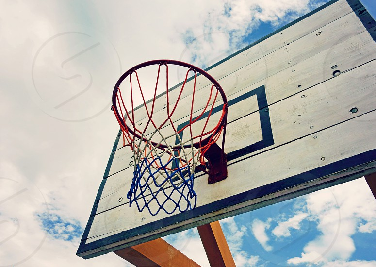 sport	 hoop	 basketball	 net	 close up outdoor	 swish	 wood	 summer	 game isolated photo