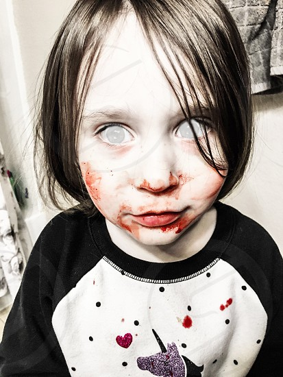 Child girl spooky creepy preschooler zombie zombie edit horror blood Halloween pale photoshop for iPhone Creative Cloud Adobe short hair nose bleed bloody bloody nose messy make me a zombie photo