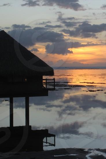 Sunset tropical island Tahiti photo