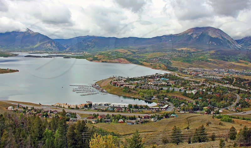 The town of Dillon Colorado lies alongside Lake Dillon a huge reservoir in the heart of Summit County. photo