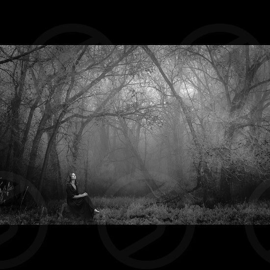 grayscale photography of a woman on black dress sitting on the rock in the foggy dessert during daytime photo