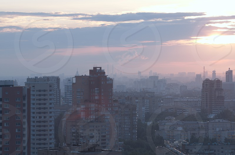 Sunrise over the city. High angle. Aerial view. Blue gray colors. photo