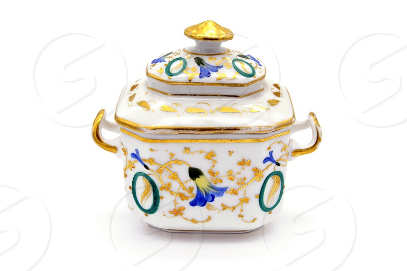 antique Biedermeier Time porcelain sugar box with flower and gold ornaments. photo